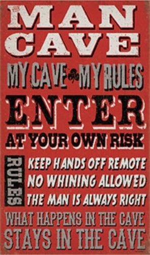 Man Cave Rules Wood Wall Art Sign