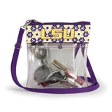 LSU TIGERS CLEAR GAME DAY CROSSBODY BAG STADIUM APPROVED PURSE LOUISIANA STATE