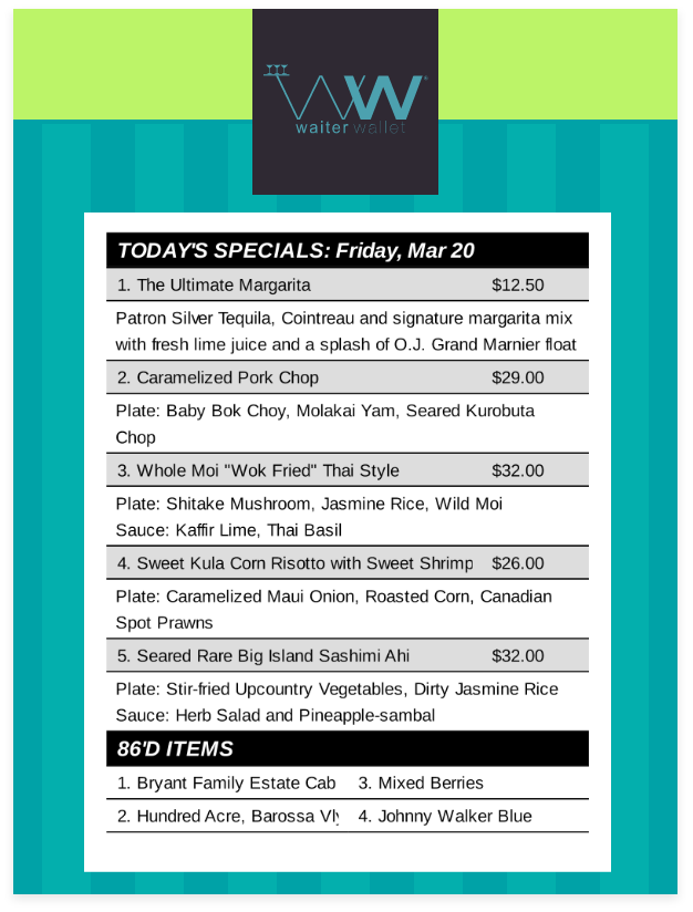 Daily Specials Free Server Template