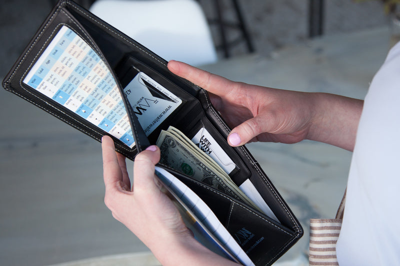 Waiter Wallet's spill resistant pocket protects restaurant servers cash and receipts from spills.