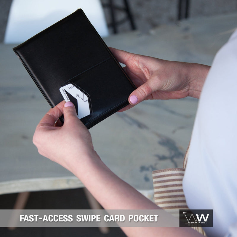 The Original Waiter Wallet's fast access POS swipe card pocket makes waiting tables fast and easy!