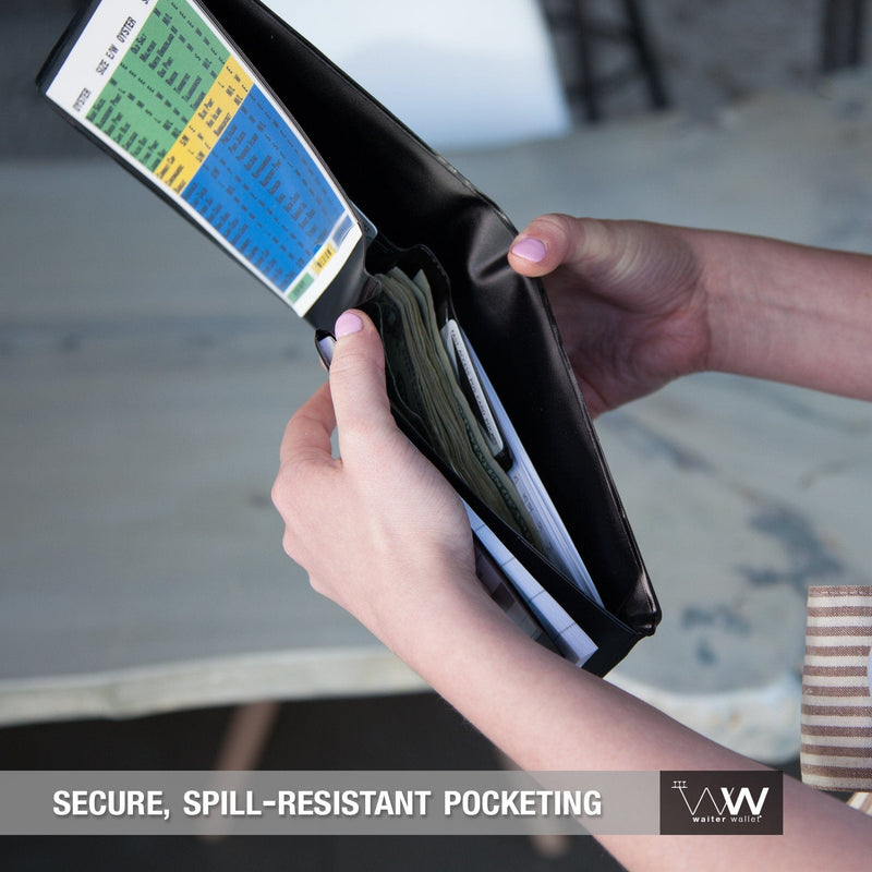 Original Waiter Wallet's spill resistant wallet pockets protect a server's cash and receipts from loss or damage.