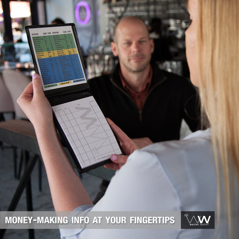 The Original Waiter Wallet perfectly positions money-making cheat-sheets at a waiter or waitresses fingertips!