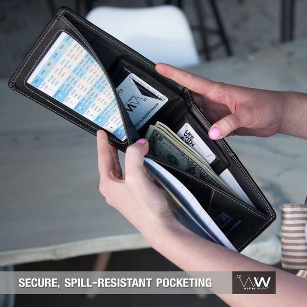 Waiter Wallet Deluxe's spill resistant wallet pocket protects server's cash and receipts.