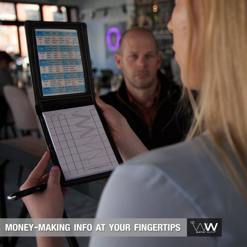 Waiter Wallet Deluxe perfectly positions money-making info at a waiter or waitresses fingertips!