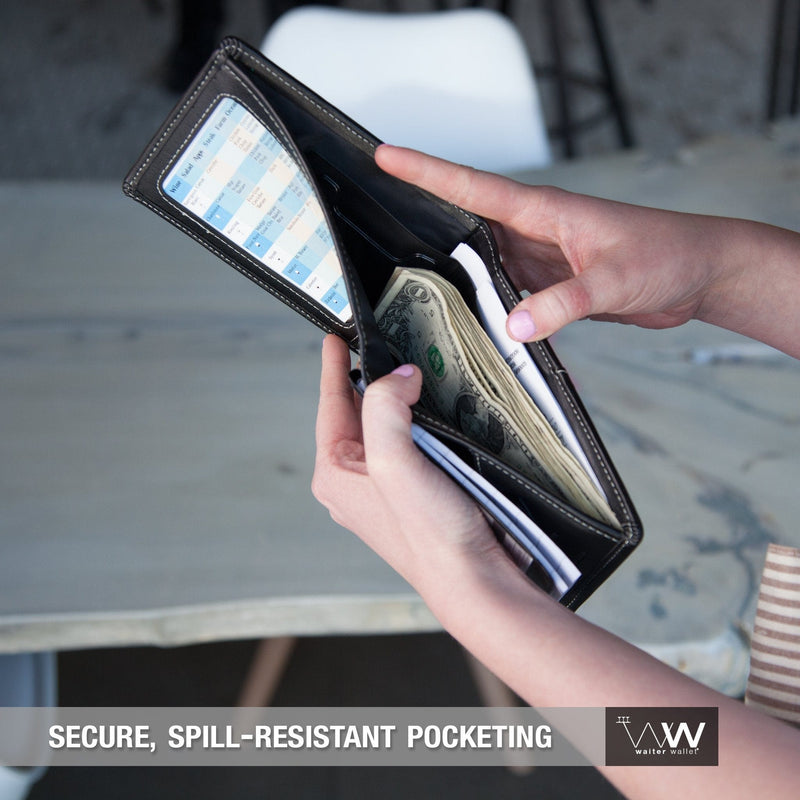 Waiter Wallet Jr's spill resistant wallet pockets protect a server's cash and receipts from loss or damage.