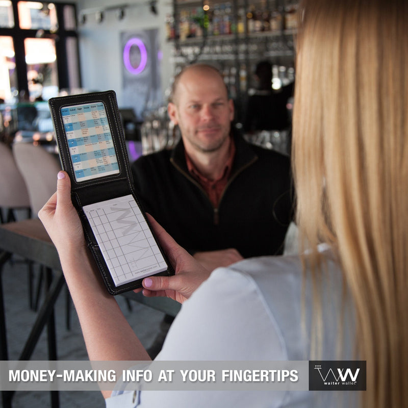 The Waiter Wallet Jr. perfectly positions money-making cheat-sheets at a waiter or waitresses fingertips!