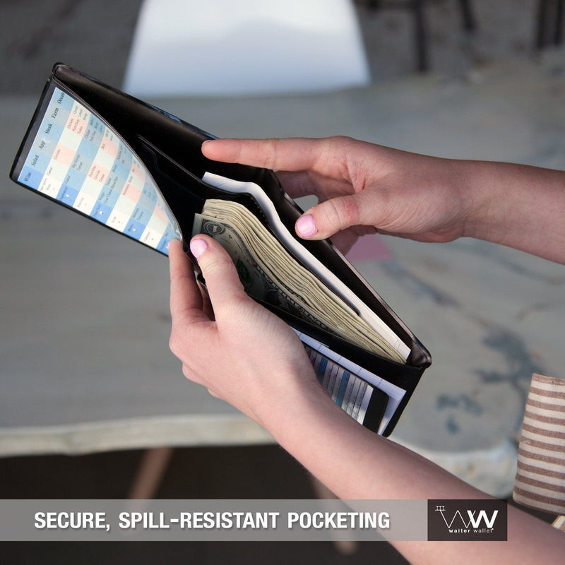 Waiter Wallet Jr.'s compact spill resistant wallet pocket protects server's cash and receipts.