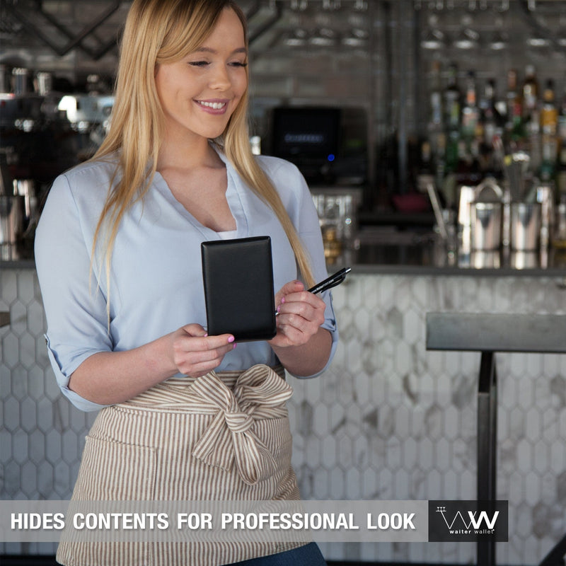 Waiter Wallet Jr.'s compact size and professional appearance is perfect for apron-less servers!