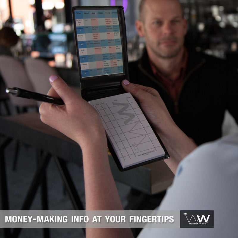 Waiter Wallet Jr. perfectly positions money-making info at a waiter or waitresses fingertips!