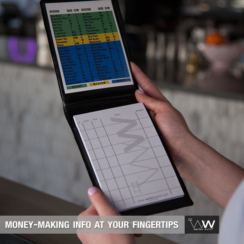 Waiter Wallet LTO's perfectly positions money-making cheat-sheets at a waiter or waitresses fingertips!