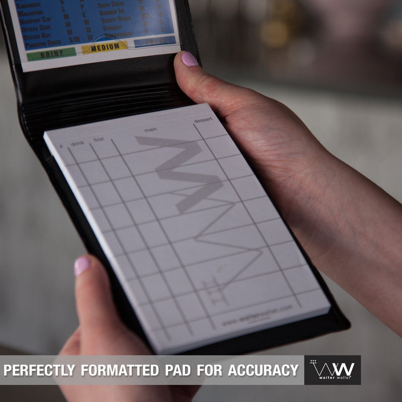 Every Waiter Wallet includes a FREE perfectly formatted Waiter Wallet Pad for more accurate guest orders.