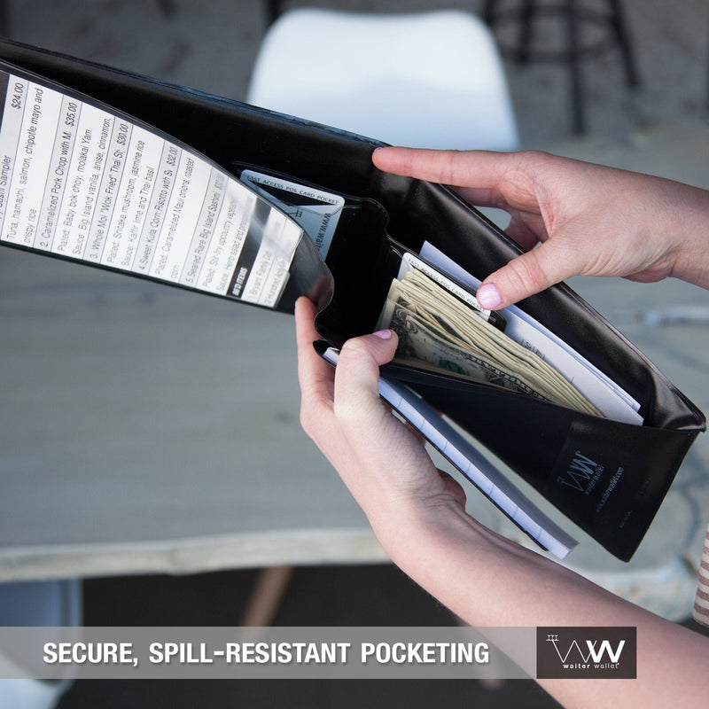 Waiter Wallet Sr.'s maximum capacity spill resistant wallet pocket protects server's cash and receipts.