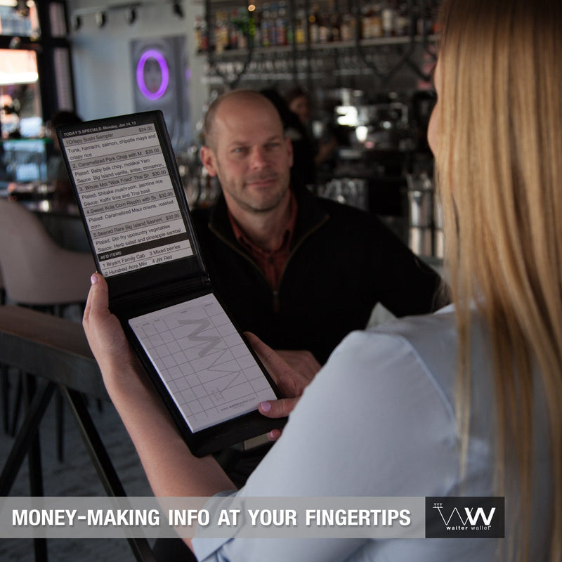 Waiter Wallet Sr. perfectly positions money-making info at a waiter or waitresses fingertips!