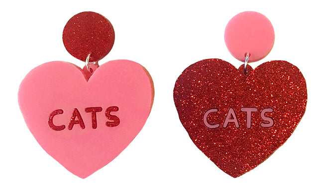 Cats Heart Earrings