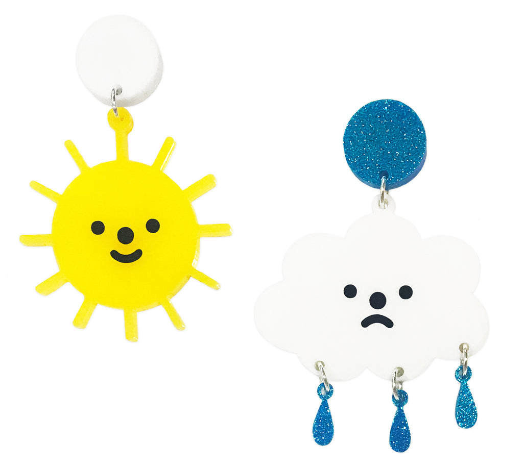 Happy Sun & Sad Cloud Earrings