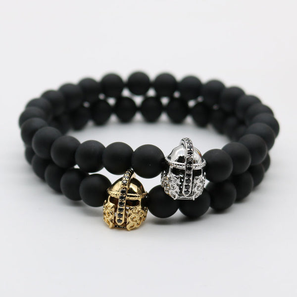 Zirconia Warrior Gladiator Helmet Beaded Bracelet - The Bracelet Shop