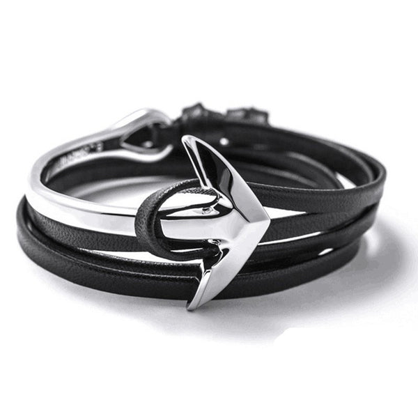 Anchor Bracelet Faux Leather Rope - The Bracelet Shop