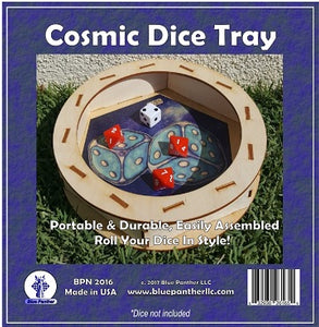 Circular Wooden Dice Tray - Cosmic - Supplies - The Dice Owl