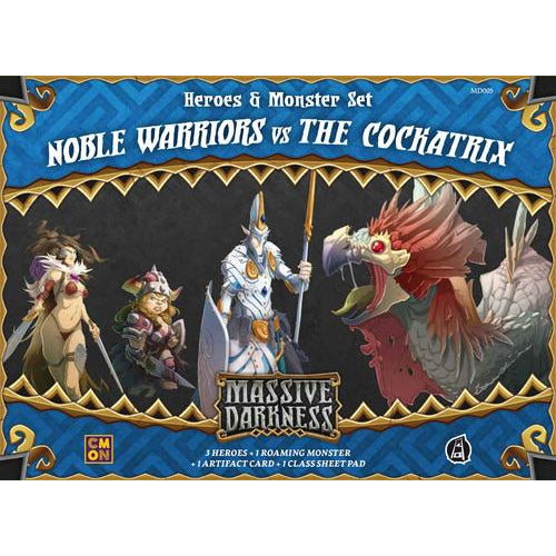 Massive Darkness: Heroes & Monster Set – Noble Warriors vs The Cockatrix - Board Game - The Dice Owl