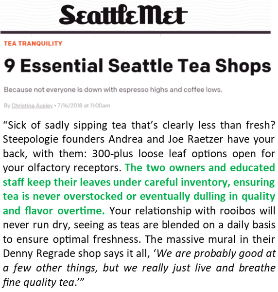"Steepologie named 1 of ""9 Essential Seattle Tea Shops"""