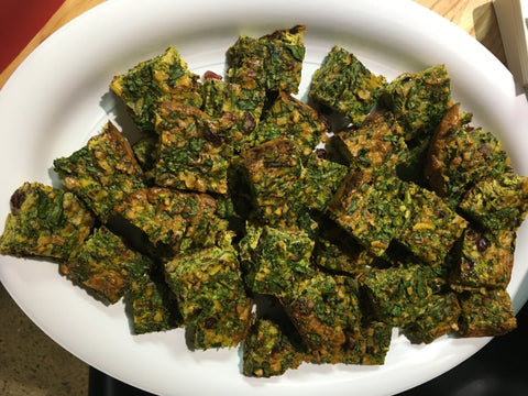 Wednesday 23 August 2017 - Lunch - Kuku Sabzi (Persian Frittata), Salads, and Tahini Cookie or Fruit (Vegetarian)