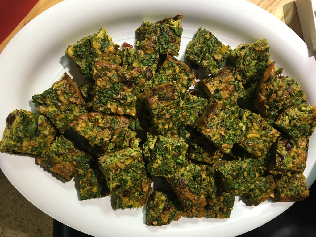 Wednesday 30 August 2017 - Lunch - Kuku Sabzi (Persian Frittata), Salads, and Tahini Cookie or Fruit (Vegetarian)
