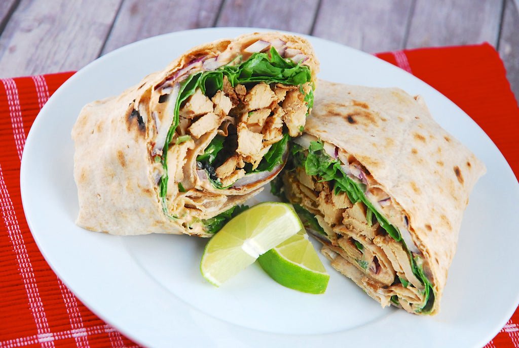 Wednesday 23 August 2017 - Lunch - Roast chicken wrap with Hummus and Tahini Cookie or Fruit