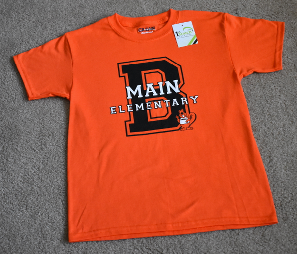 Main Elementary - * (Clearance - Adult 2XL Only) - Short Sleeve Orange Cotton T-shirt