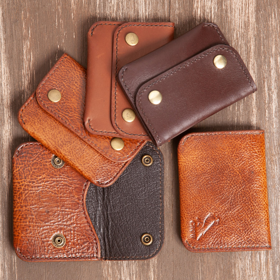 Double Snap Leather Card Wallet Collection