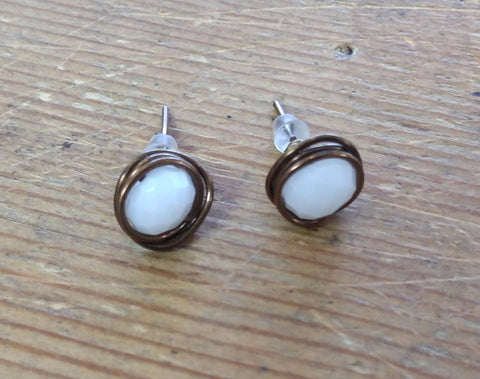 White Crystal Studs in Bronze
