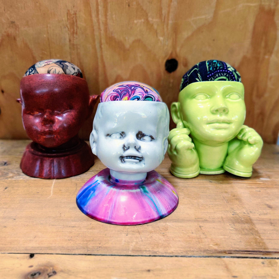 Ceramic Babydoll Head Pin Cushion Collection