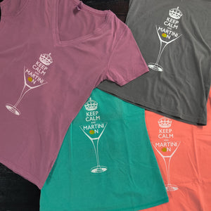 Keep Calm and Martini On Deep V-Neck Tee Collection