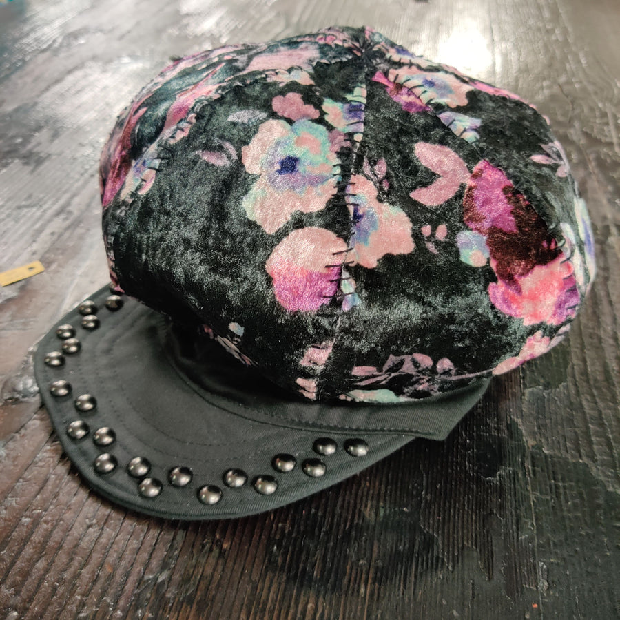 "Forgotten Saints Frankenstitched ""Velvet Floral"" Big Apple Hat"