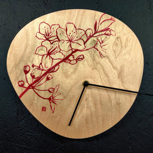 Hand Painted Floral Wood Clock