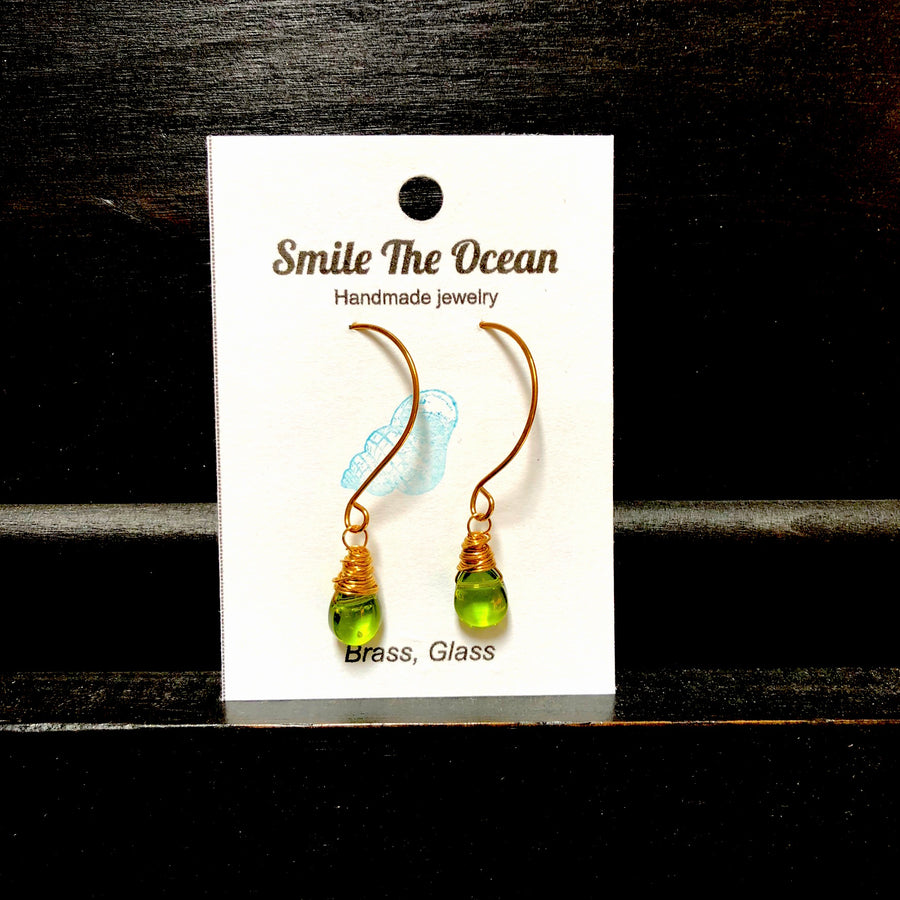Smile Wrapped Green Peridot Glass Dangles