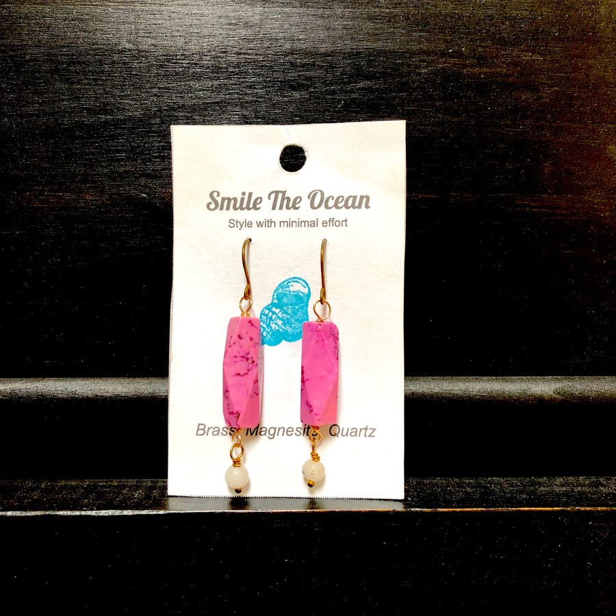 Smile - Pink magnesite and quartz dangles