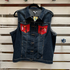 Jems Red with Buttons Denim Vest