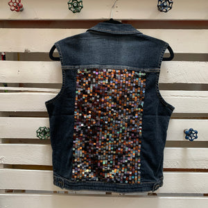 Jems Bronze Sequin Denim Vest