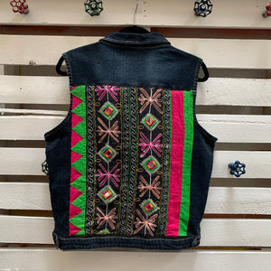 Jems Pink & Green Crewel Work Denim Vest