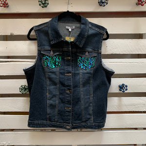 Jems Black Sequin Denim Vest
