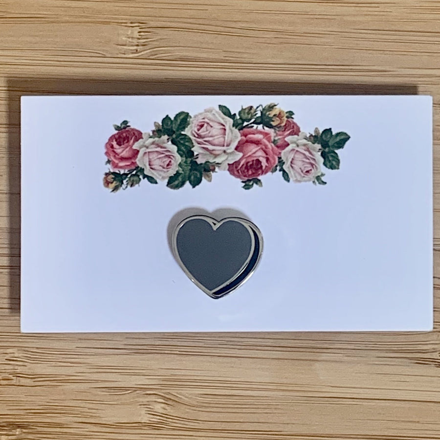 Grey Heart Enamel Pin