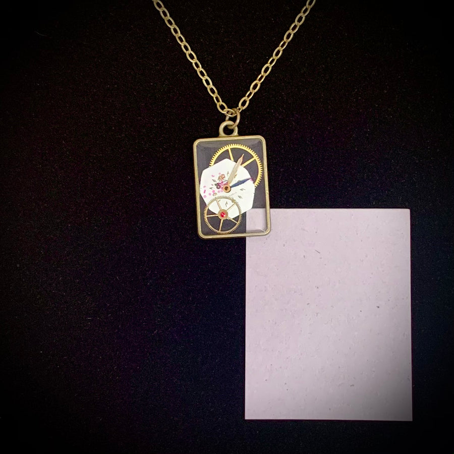 See through Resin Pendant w/ watch parts