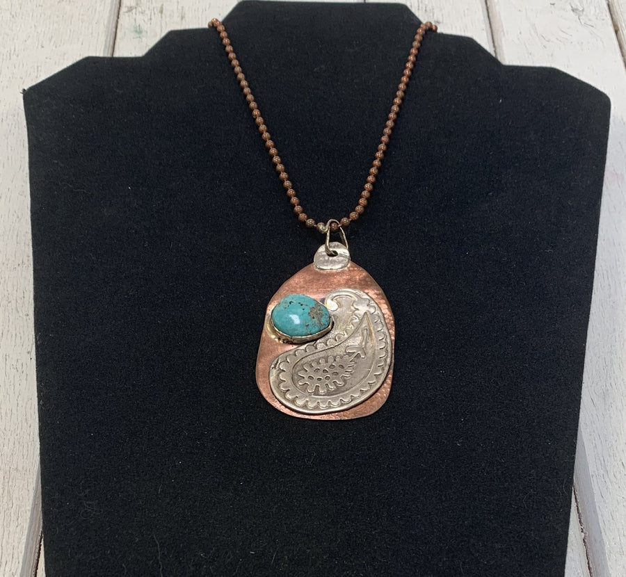 Copper Pendant with Sterling and Turquoise