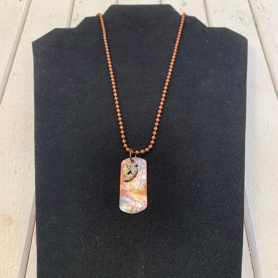 Copper Dog Tag with Koi