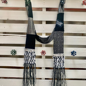 Forgotten Saints Fringed Black & Grey Scarf