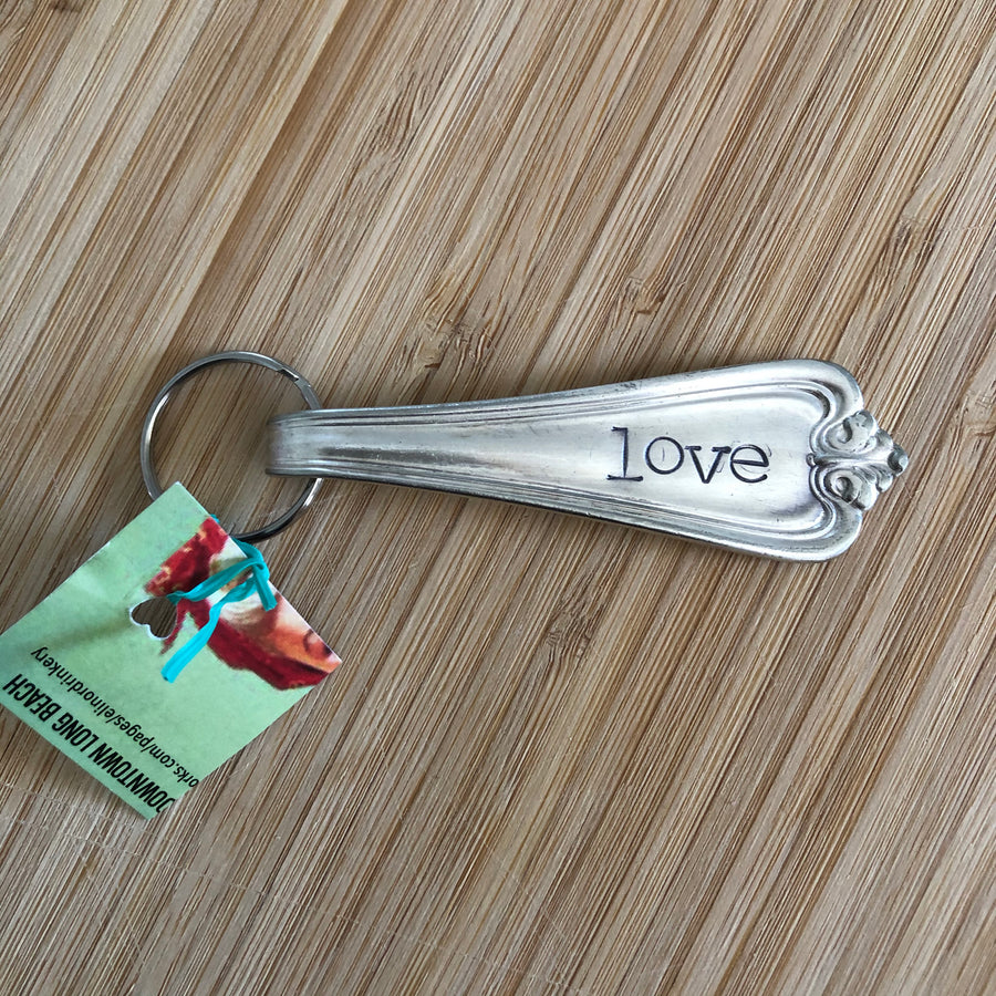 Hand Stamped Recycled Silverware Key Chain Collection