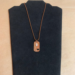 Copper Dog Tag with Heart Cutout