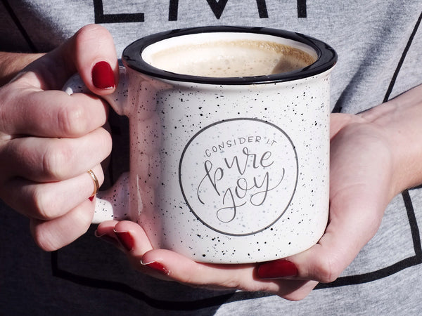 Pure Joy · White Speckled Campfire Mug
