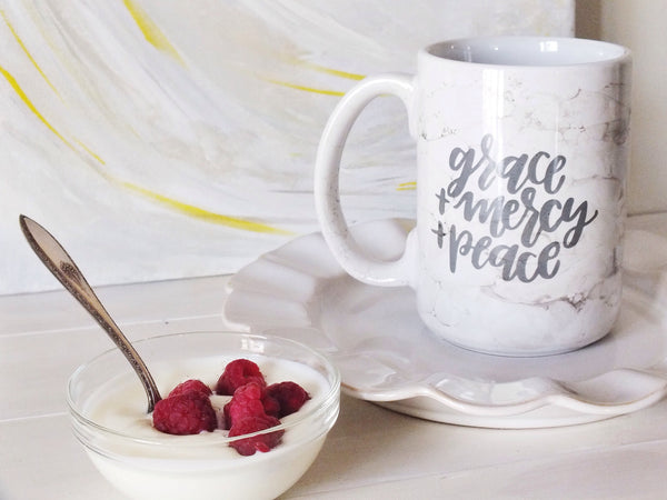 grace + mercy + peace · C-Shaped Marble Mug